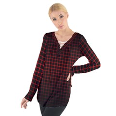 Optical Illusion Grid in Black and Red Women s Tie Up Tee