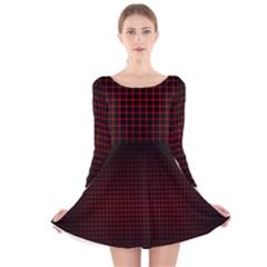 Optical Illusion Grid in Black and Red Long Sleeve Velvet Skater Dress