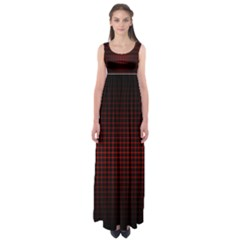 Optical Illusion Grid in Black and Red Empire Waist Maxi Dress