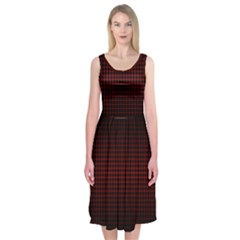 Optical Illusion Grid in Black and Red Midi Sleeveless Dress