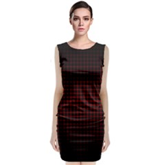 Optical Illusion Grid in Black and Red Classic Sleeveless Midi Dress