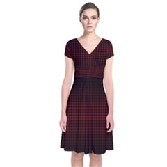 Optical Illusion Grid in Black and Red Short Sleeve Front Wrap Dress
