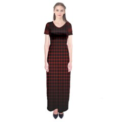 Optical Illusion Grid In Black And Red Short Sleeve Maxi Dress
