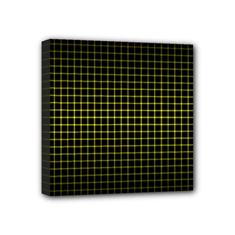 Optical Illusion Grid in Black and Yellow Mini Canvas 4  x 4