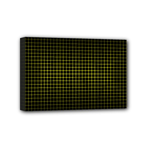 Optical Illusion Grid in Black and Yellow Mini Canvas 6  x 4