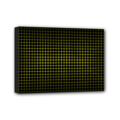 Optical Illusion Grid in Black and Yellow Mini Canvas 7  x 5