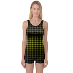 Optical Illusion Grid in Black and Yellow One Piece Boyleg Swimsuit