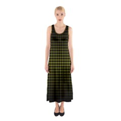 Optical Illusion Grid In Black And Yellow Sleeveless Maxi Dress