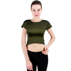 Optical Illusion Grid in Black and Yellow Crew Neck Crop Top