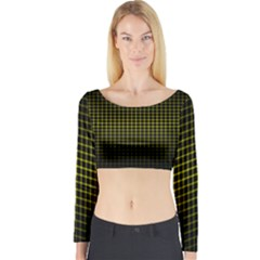 Optical Illusion Grid in Black and Yellow Long Sleeve Crop Top