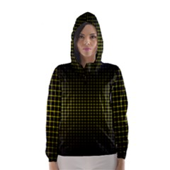 Optical Illusion Grid in Black and Yellow Hooded Wind Breaker (Women)