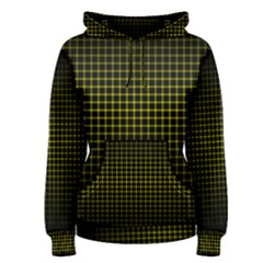 Optical Illusion Grid in Black and Yellow Women s Pullover Hoodie
