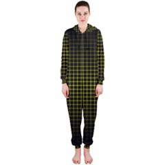 Optical Illusion Grid in Black and Yellow Hooded Jumpsuit (Ladies)
