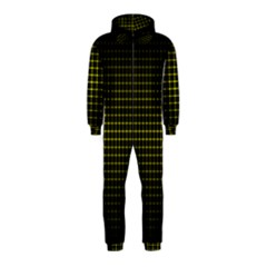 Optical Illusion Grid in Black and Yellow Hooded Jumpsuit (Kids)