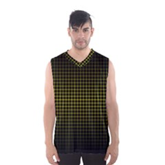 Optical Illusion Grid in Black and Yellow Men s Basketball Tank Top