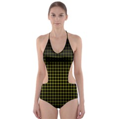 Optical Illusion Grid in Black and Yellow Cut-Out One Piece Swimsuit