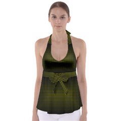 Optical Illusion Grid in Black and Yellow Babydoll Tankini Top