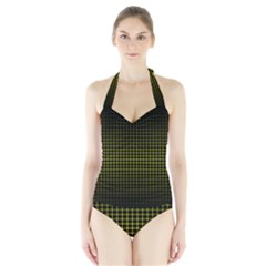 Optical Illusion Grid in Black and Yellow Halter Swimsuit