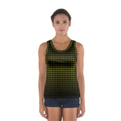 Optical Illusion Grid in Black and Yellow Women s Sport Tank Top