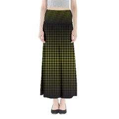 Optical Illusion Grid in Black and Yellow Maxi Skirts