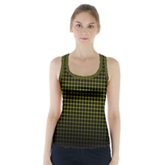 Optical Illusion Grid in Black and Yellow Racer Back Sports Top