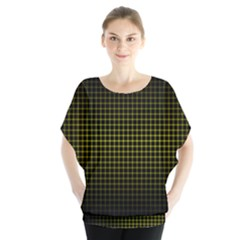 Optical Illusion Grid in Black and Yellow Blouse
