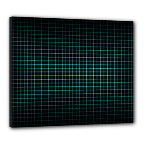 Optical Illusion Grid in Black and Neon Green Canvas 24  x 20