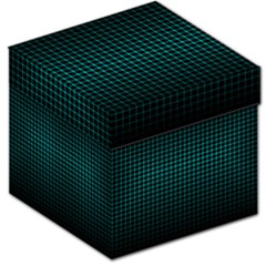 Optical Illusion Grid in Black and Neon Green Storage Stool 12
