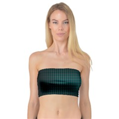 Optical Illusion Grid in Black and Neon Green Bandeau Top