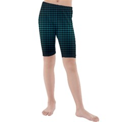 Optical Illusion Grid in Black and Neon Green Kids  Mid Length Swim Shorts