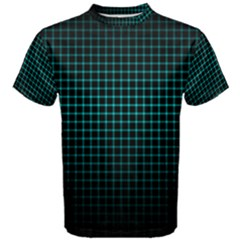 Optical Illusion Grid in Black and Neon Green Men s Cotton Tee