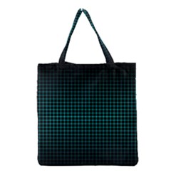 Optical Illusion Grid In Black And Neon Green Grocery Tote Bag