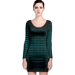 Optical Illusion Grid in Black and Neon Green Long Sleeve Bodycon Dress