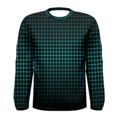 Optical Illusion Grid in Black and Neon Green Men s Long Sleeve Tee