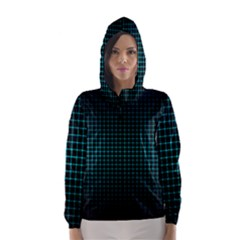 Optical Illusion Grid in Black and Neon Green Hooded Wind Breaker (Women)