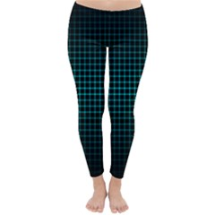 Optical Illusion Grid in Black and Neon Green Classic Winter Leggings