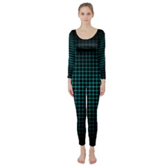 Optical Illusion Grid in Black and Neon Green Long Sleeve Catsuit