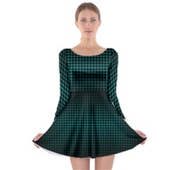 Optical Illusion Grid in Black and Neon Green Long Sleeve Skater Dress