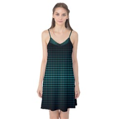 Optical Illusion Grid in Black and Neon Green Camis Nightgown