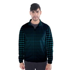 Optical Illusion Grid in Black and Neon Green Wind Breaker (Men)
