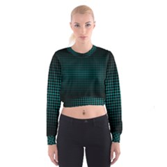 Optical Illusion Grid in Black and Neon Green Cropped Sweatshirt