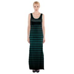 Optical Illusion Grid in Black and Neon Green Maxi Thigh Split Dress