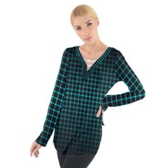 Optical Illusion Grid in Black and Neon Green Women s Tie Up Tee