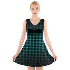 Optical Illusion Grid in Black and Neon Green V-Neck Sleeveless Skater Dress