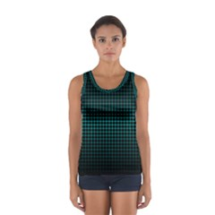 Optical Illusion Grid in Black and Neon Green Women s Sport Tank Top