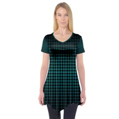 Optical Illusion Grid in Black and Neon Green Short Sleeve Tunic