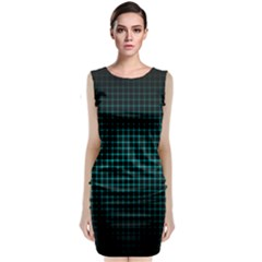 Optical Illusion Grid in Black and Neon Green Classic Sleeveless Midi Dress