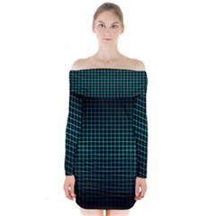 Optical Illusion Grid in Black and Neon Green Long Sleeve Off Shoulder Dress