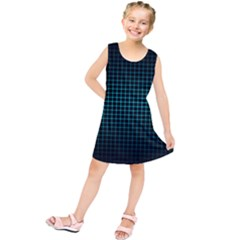 Optical Illusion Grid in Black and Neon Green Kids  Tunic Dress