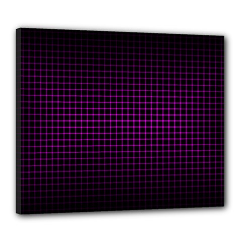 Optical Illusion Grid in Black and Neon Pink Canvas 24  x 20